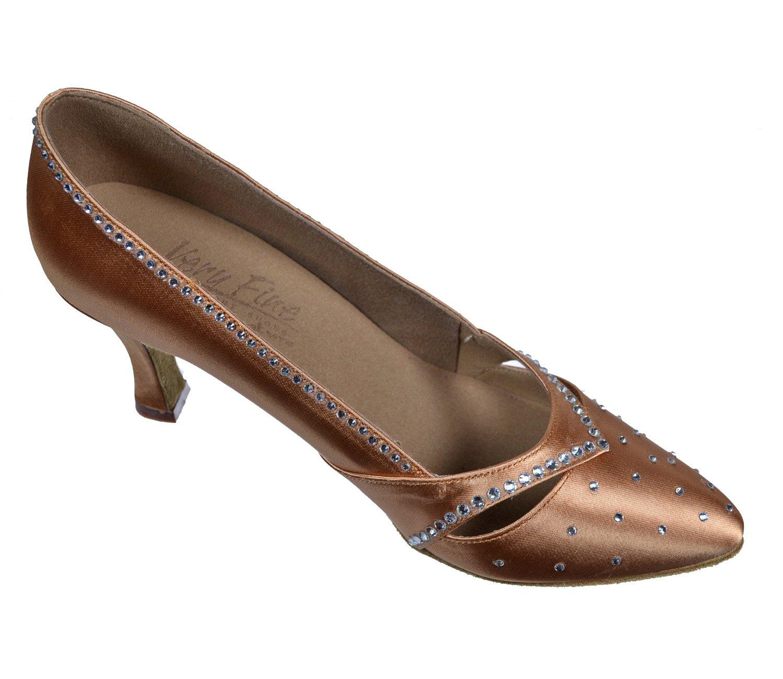 Very Fine Ladies Women Ballroom Dance Shoes EKSA11004 - S9171 Tan Satin Clear Rhinestones 2.5'' Heel (9.5M)