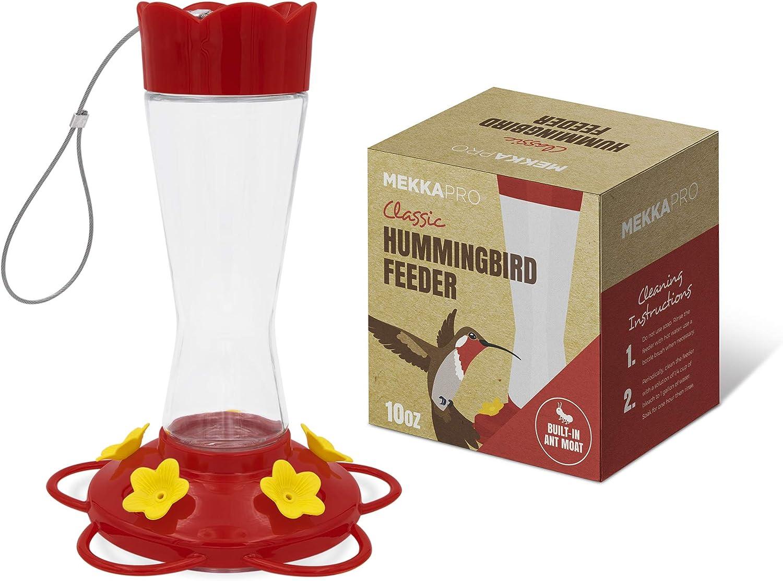 MEKKAPRO Outdoor Hummingbird Feeder Made from Glass, Hanging 5 Nectar Feeding Stations, Bright Red, Backyard Feeder (10 Ounces)