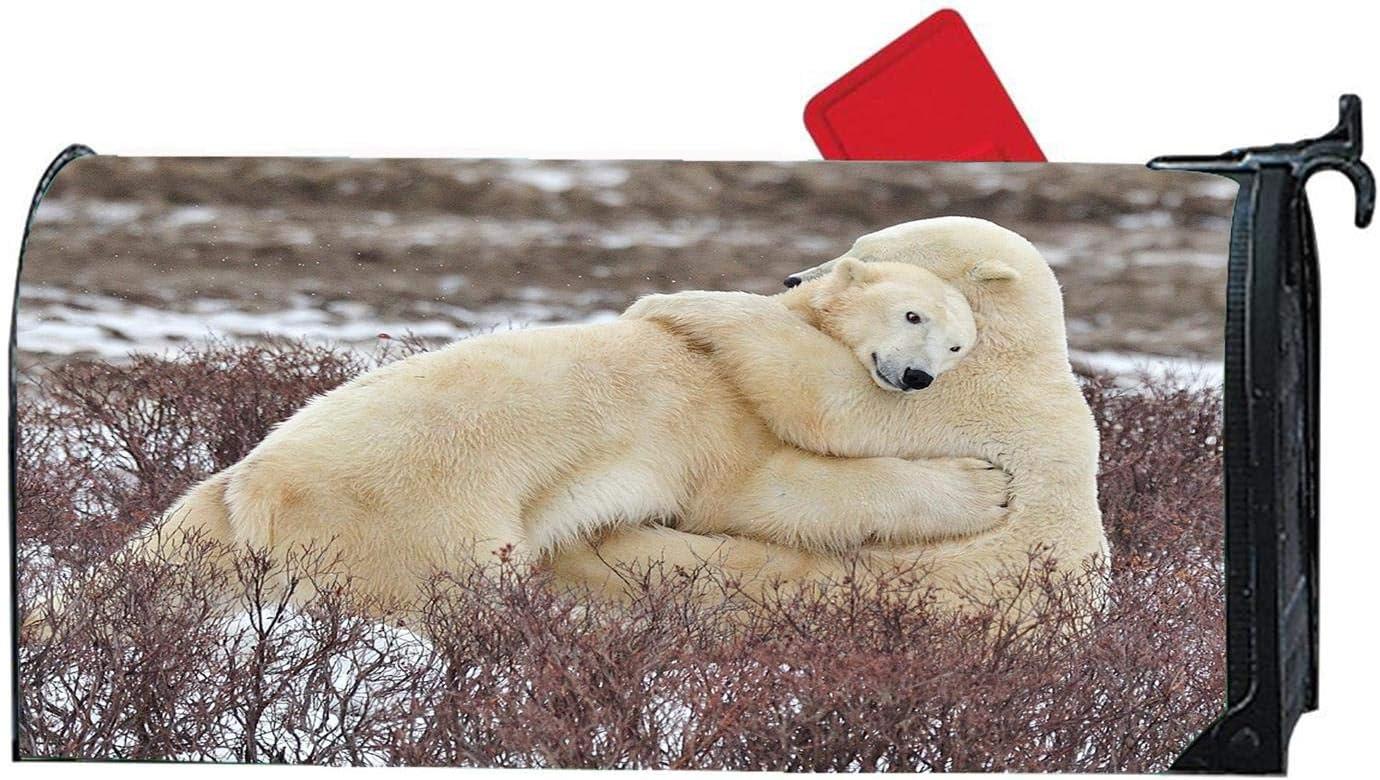 Arctic Ice Three Blue Penguins Decorative Magnetic Mailbox Cover Standard Sized Animals Design Mailbox Wrap