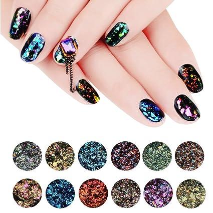 Makartt 12 tarros/Set Chameleon – copos de purpurina Galaxy uñas lentejuelas Nail Art polvo. Pasa ...