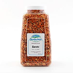Harmony House Foods Dehydrated Diced Carrots - Air Dried Vegetables for Soup and Cooked Dishes, Great for Camping, Survival, and Backpacking, 12 Ounce Jar