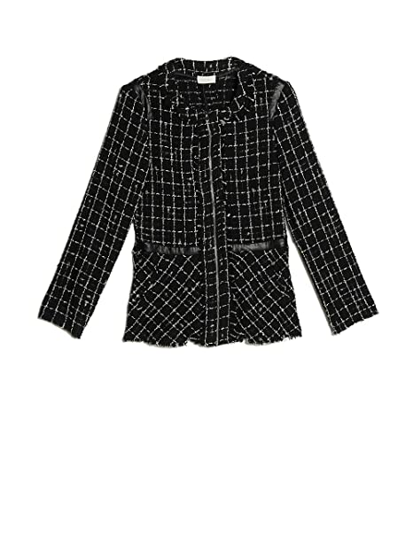 grande vendita 9e2a1 af2f1 Oltre : Giacca Check in Tweed Nero 52 (Italian Size): Amazon ...