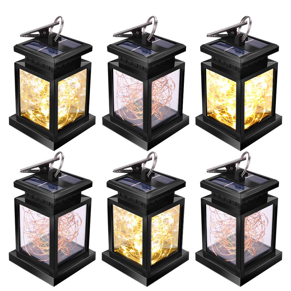 Solar Lanterns Outdoor, JSOT 30 LED Hanging Decor Fairy Lights Waterproof Tabletop Lamps for Garden Table Patio Umbrella (Yellow Light - 6pcs)