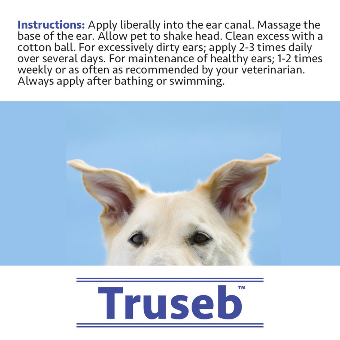 Truseb |#1 Otic Ear Cleanser & Drying Solution with Aloe Vera for Dogs and  Cats- Otic Rinse - Effective Against Mites, Yeast, Odor and Controls