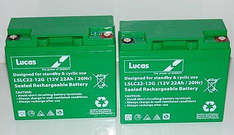 Baterías de escúter y de silla de ruedas de LUCAS, un par de baterías para