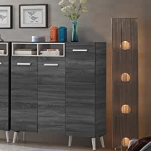 Maison Concept Urban Cabinet, Black and Grey - H 1344 x W 360 x D 1200 mm