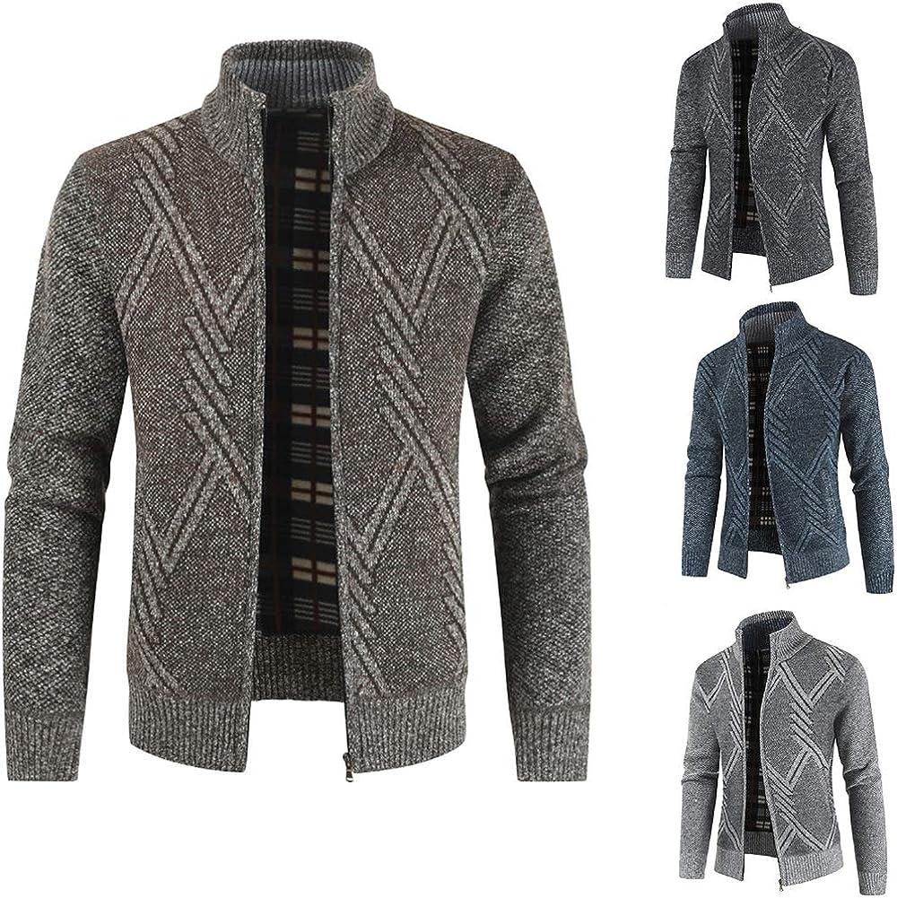 AUYUG Mens Cardigan Sweater Zipper Stand Collar Knitwear