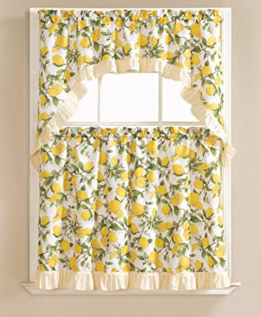 Beth Lemon Printed 3 Piece Kitchen Curtain Swag Tiers Set Beige 60x36