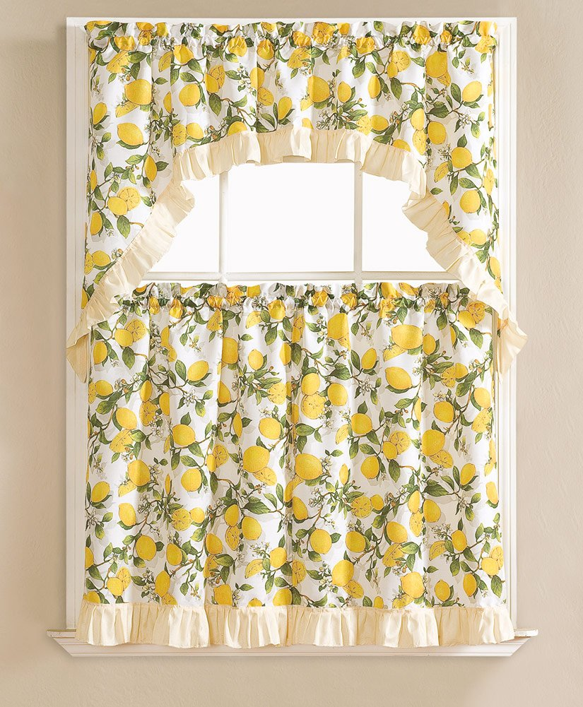 Beth Lemon Printed 3-Piece Kitchen Curtain Swag & Tiers Set, Beige, 60x36 & 30x36