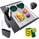 Portable Roll Up Dish Drying Rack for Kitchen Over The Sink 17.4''x 15.5'' Stainless Steel