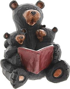 "Lipman Black Bear Reading to Cubs Figurine, 4"""