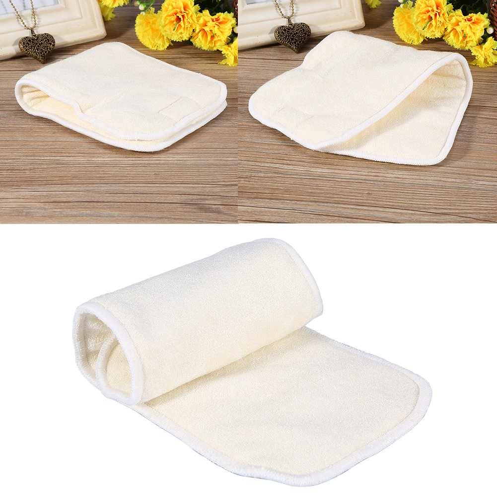 Washable Cloth Diaper Insert 4 Layers Bamboo Fiber Adult Incontinence Liner Pad