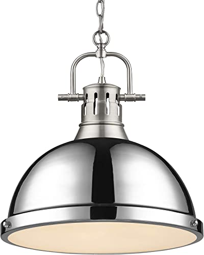 Golden Lighting 3602-L PW-CH Duncan Pendant, Transitional, Pewter with Chrome Shade