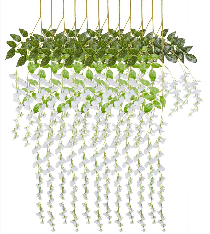 造花 藤 結婚式 誕生日パーティー ホームガーデンデコレーション 人工植物 人工植物 吊り下げ ガーランド つる ラタン植物 シルクフラワー ガゼボ アーチ 壁 花柄 背景 装飾 12個 B07RM71X6B