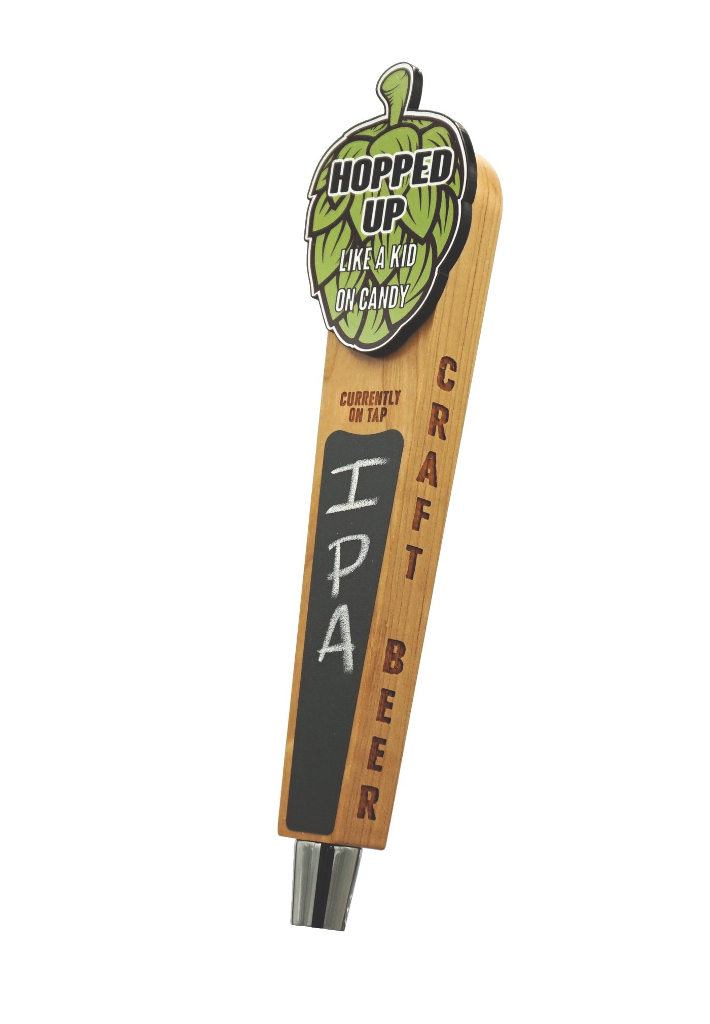 Beer Tap Handle with Chalkboard-Hopped Up Edition. Cool wood tap with laser engraved sides and full color logo. Hopped up like a kid on candy.