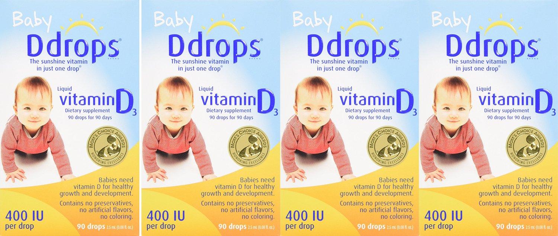 Ddrops Baby EDhBL 400 IU, 90 drops 2.5mL - 90 Drops (4 Pack) RNdNm