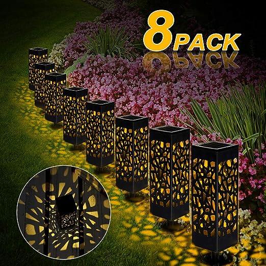 Lámparas Solares para Jardín, 8 Piezas Luces Solar Exterior Jardin Lámpara Solar Jardín Luz Tren Luces Exterior Luz, Impermeable IP 65 para Terraza Césped Jardín Patios(Blanco Cálido): Amazon.es: Jardín