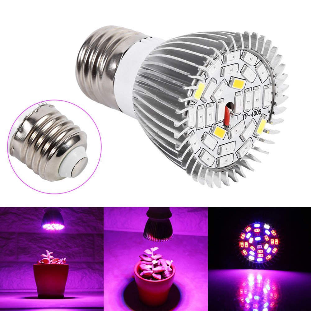 28 LED 28W E27 Grow Light Lamp Veg Flower Seed Plants Indoor Hydroponic Plant Full Spectrum By Sandistore