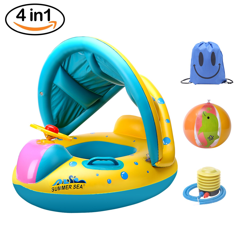 Adjustable Inflatable Sunshade Baby Kid Float Seat Boat Swim Pool Ring Wheel NEW