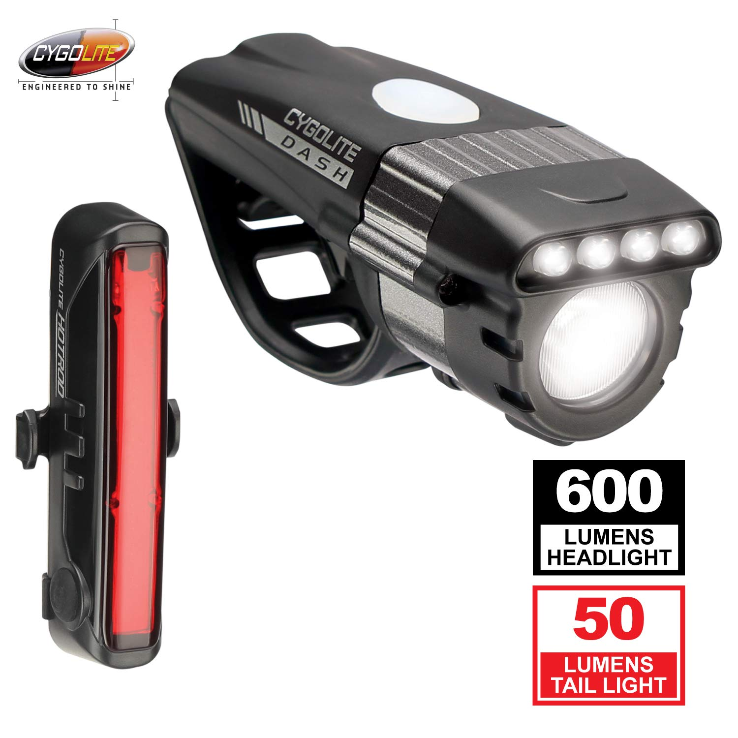 Cygolite Dash Pro 600 Lumen Headlight & Hotrod 50 Lumen Tail Light USB Rechargeable Bicycle Light Combo Set
