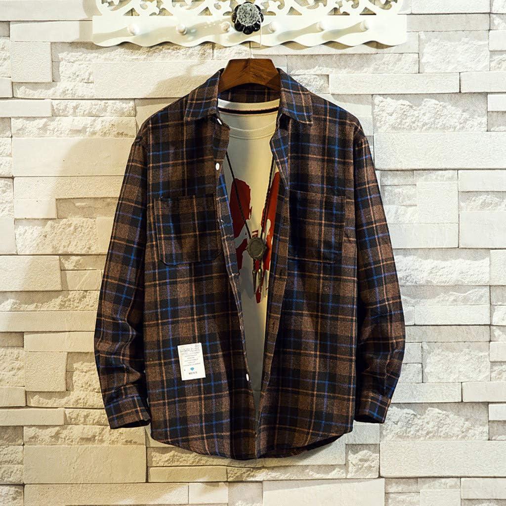Halfbye Mens Autumn Winter Loose Fit Long Sleeve Shirt Button Down Pocket Tops Lapel Shirts Plaid Blouse