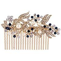 Ever Faith Austrian Crystal Bridal Hair Comb Flower Art Deco Cream Simulated Pearl