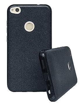 Coovertify Funda Purpurina Brillante Negra Huawei P8 Lite 2017, Carcasa Resistente de Gel Silicona con Brillo Negro para Huawei P8 Lite 2017