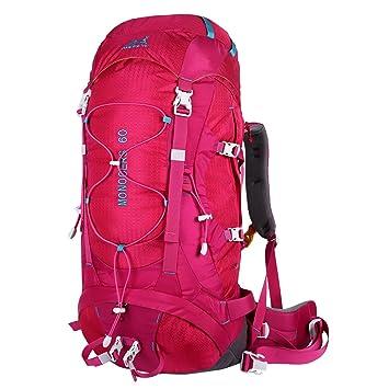 Eshow Mochilas de 60 litros de Senderismo Nylon Mochilas de Acampada 60L Impermeable de montanismo Trekking Deportes Excursion Color Rosa: Amazon.es: ...
