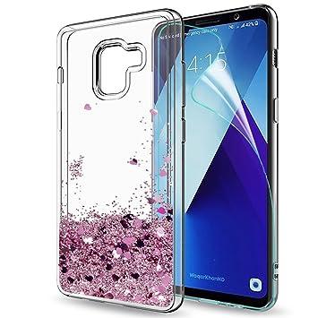 LeYi Compatible con Funda Samsung Galaxy A8 Plus 2018 Silicona Purpurina Carcasa con HD Protectores de Pantalla,Transparente Cristal Gel Bumper Fundas ...