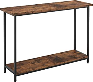 IRONCK Vintage Console Table for Entryway, Entry Table with Shelf, Sofa Side Table for Entryway Living Room, Industrial Home Furniture Vintage Brown