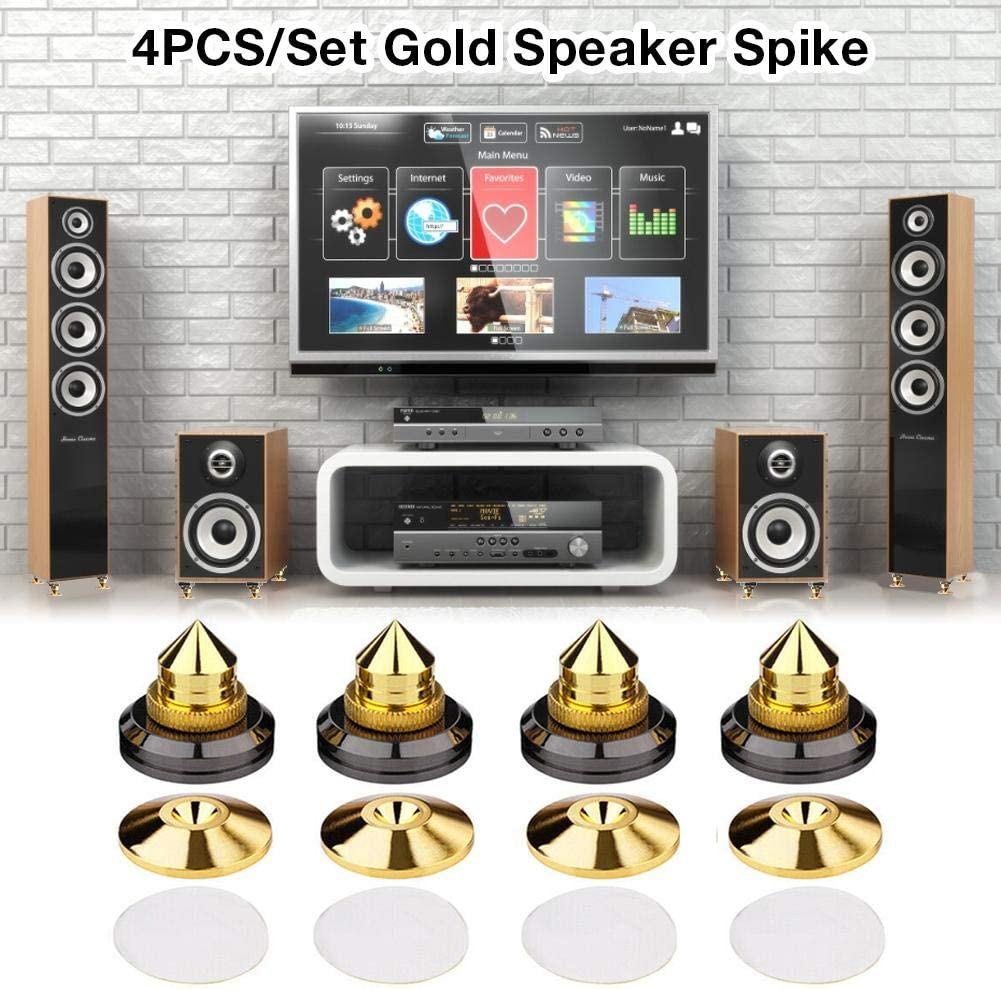 Speaker Spike Golden Stand Feet Cone Base Stick-on Shockproof Pads Pack of 4 Sub-Watt Absorbers For Speakers