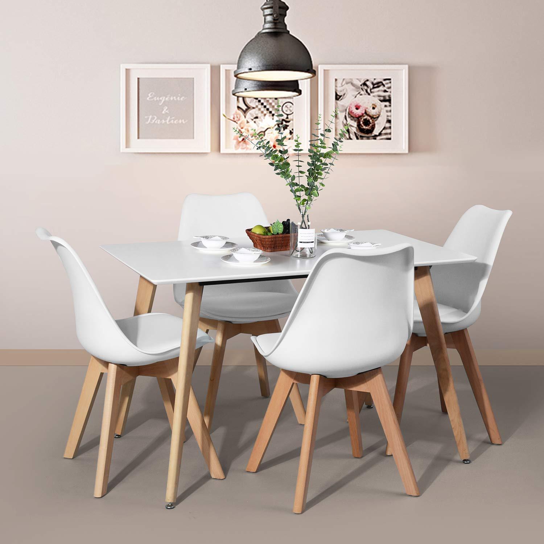 FurnitureR Dining Table Rectangular Top Dining Desk 44'' x 28'' Leisure Cofffee Table 2-4 People Wood Beech White Kitchen Desk by FurnitureR (Image #4)