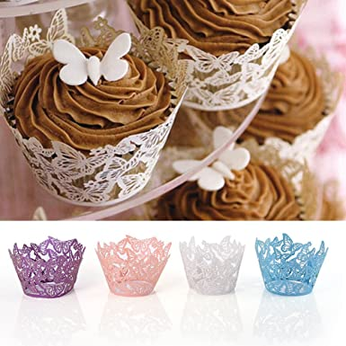DIYHouse® 50PC//Lot Hollow Butterfly Wrapper Little Vine Lace Laser Cupcake Paper