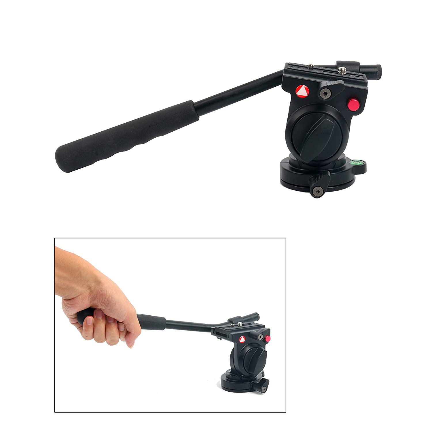 """KINGJOY KH-6750 Flexible Aluminum Camera Tripod Head Fluid Video Tripod Head for Canon, Nikon,Tripods and Monopods and Other DSLR Cameras with 1/4"""",3/8"""" Thread"""