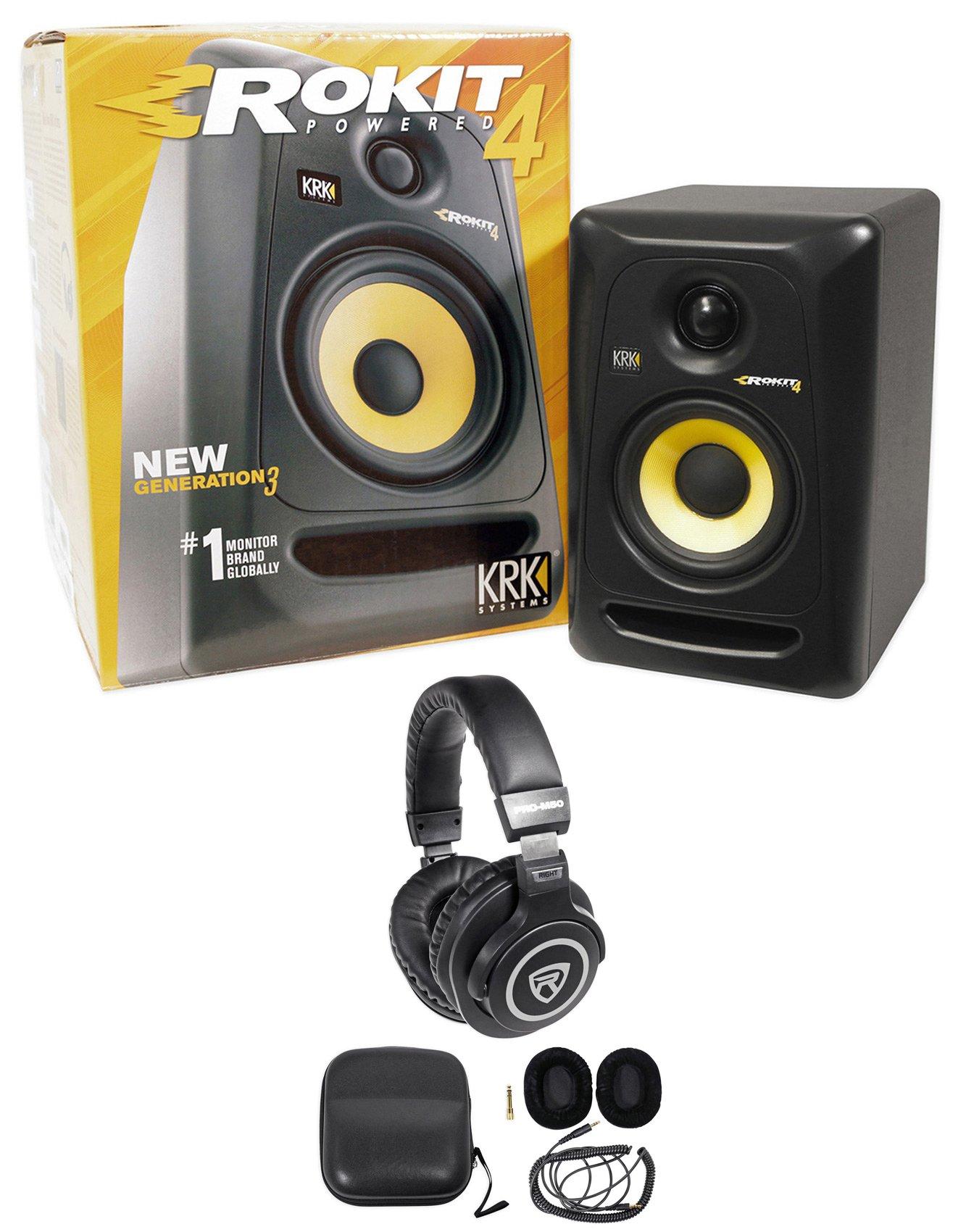 KRK RP4G3 RP4-G3 Rokit Powered 4'' Studio Monitor Active Speaker + Headphones