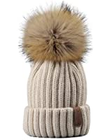 FURTALK Kids Winter Knitted Pom Beanie Bobble Hat Faux Fur Ball Pom Pom Cap Unisex Kids Beanie Hat (Ages 3-8)
