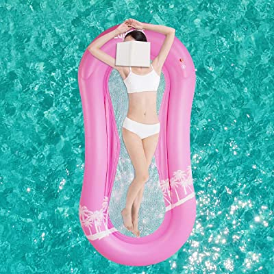 Yinuoday Inflatable Pool Float Hammock, Swimming Floating Bed Lounge for Pool with Bottom Mesh, Portable Water Hammock Lounger for Adults Vacation Fun and Rest: Toys & Games