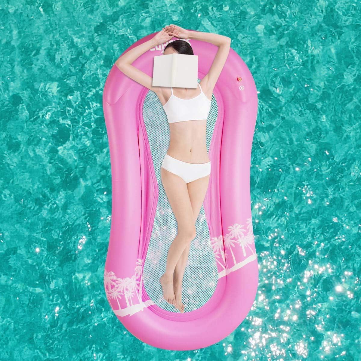 Yinuoday Hamaca Flotante para Piscina Sala de Natación Flotante para Piscina con Malla Inferior Hamaca Portátil para Hamacas de Agua para Adultos Vacaciones Diversión Y Descanso