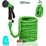 50 Ft Garden Hose Best Flexible Hose Expandable Retractable Hoses Pipe Prevent Leaking Pipe 8 Setting Sprayer Antirust Antifreeze Hoses(50Ft)