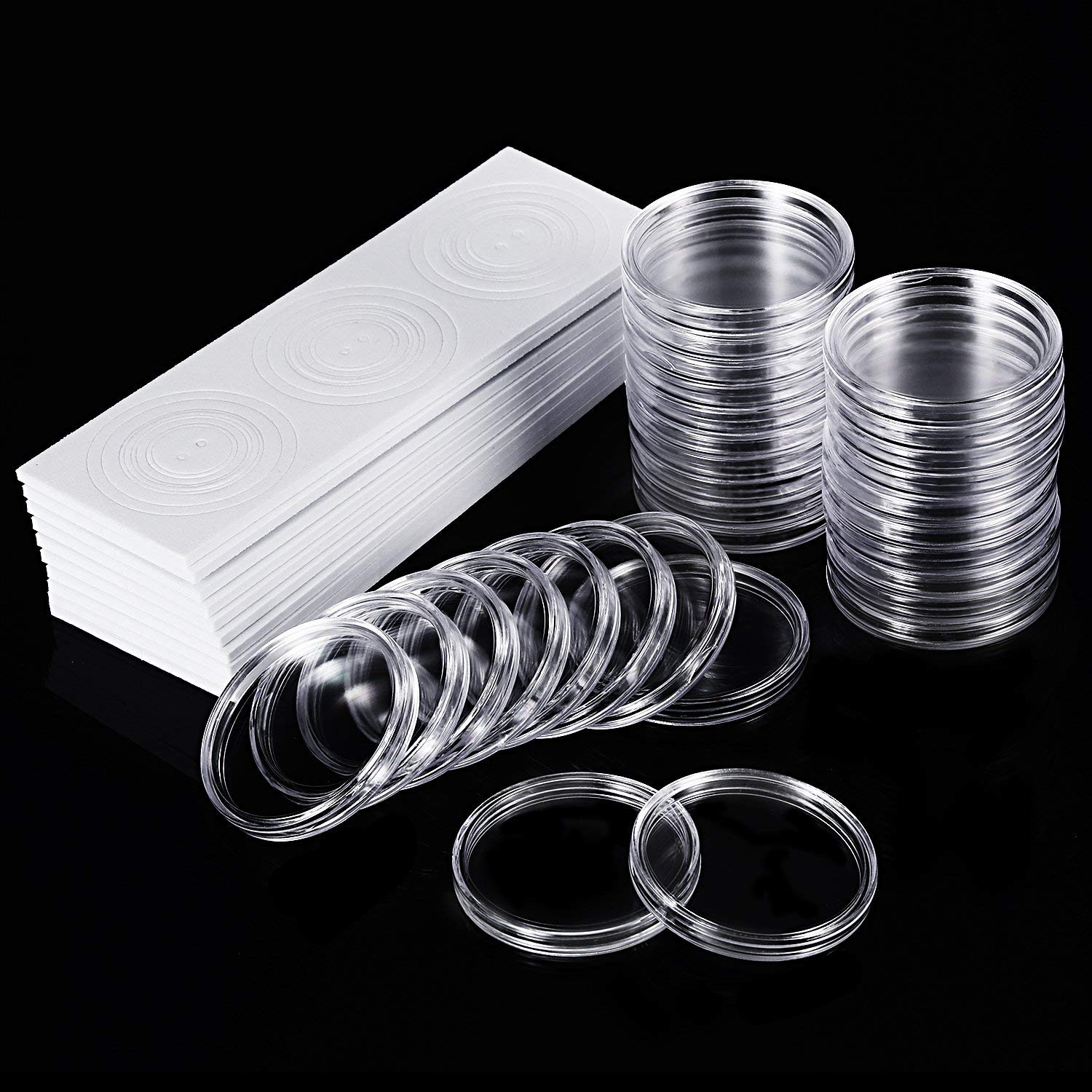 Pack of 1000 Round Plastic Coin Capsules Storage Holder Case Collection 19mm