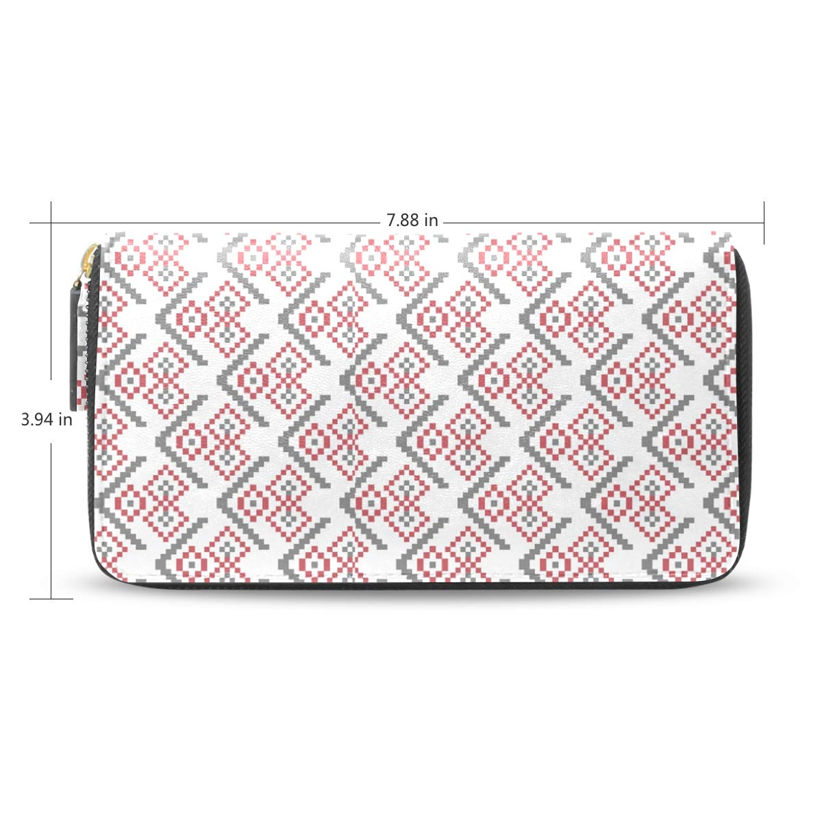 Women Plaid Snowflake Pink Vector Leather Wallet Large Capacity Zipper Travel Wristlet Bags Clutch Cellphone Bag