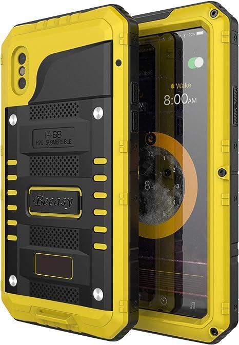 Beeasy Funda Antigolpes iPhone XS, [Sumergible] Carcasa Impermeable Resistente Reforzada Acuática Waterproof Metálica Grado Militar Resistente Antipolvos Case para iPhone 10S,Amarillo: Amazon.es: Electrónica
