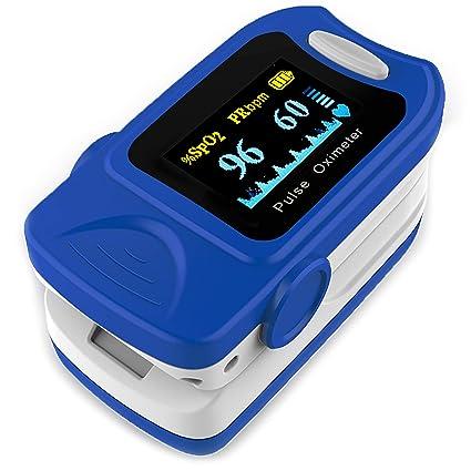 AIESI Pulsioxímetro de dedo Profesional portátil Medidor de Oxígeno con pantalla giratoria a COLORES ✓ Garantía