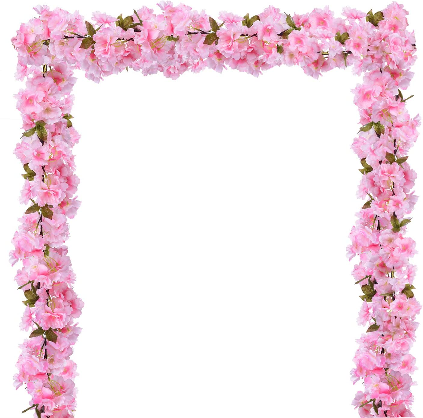 DearHouse 2 Pack Artificial Cherry Blossom Garland Hanging Vine Faux Cherry Blossom Flowers Garland for Home Garden Wedding Party Decor,Pink