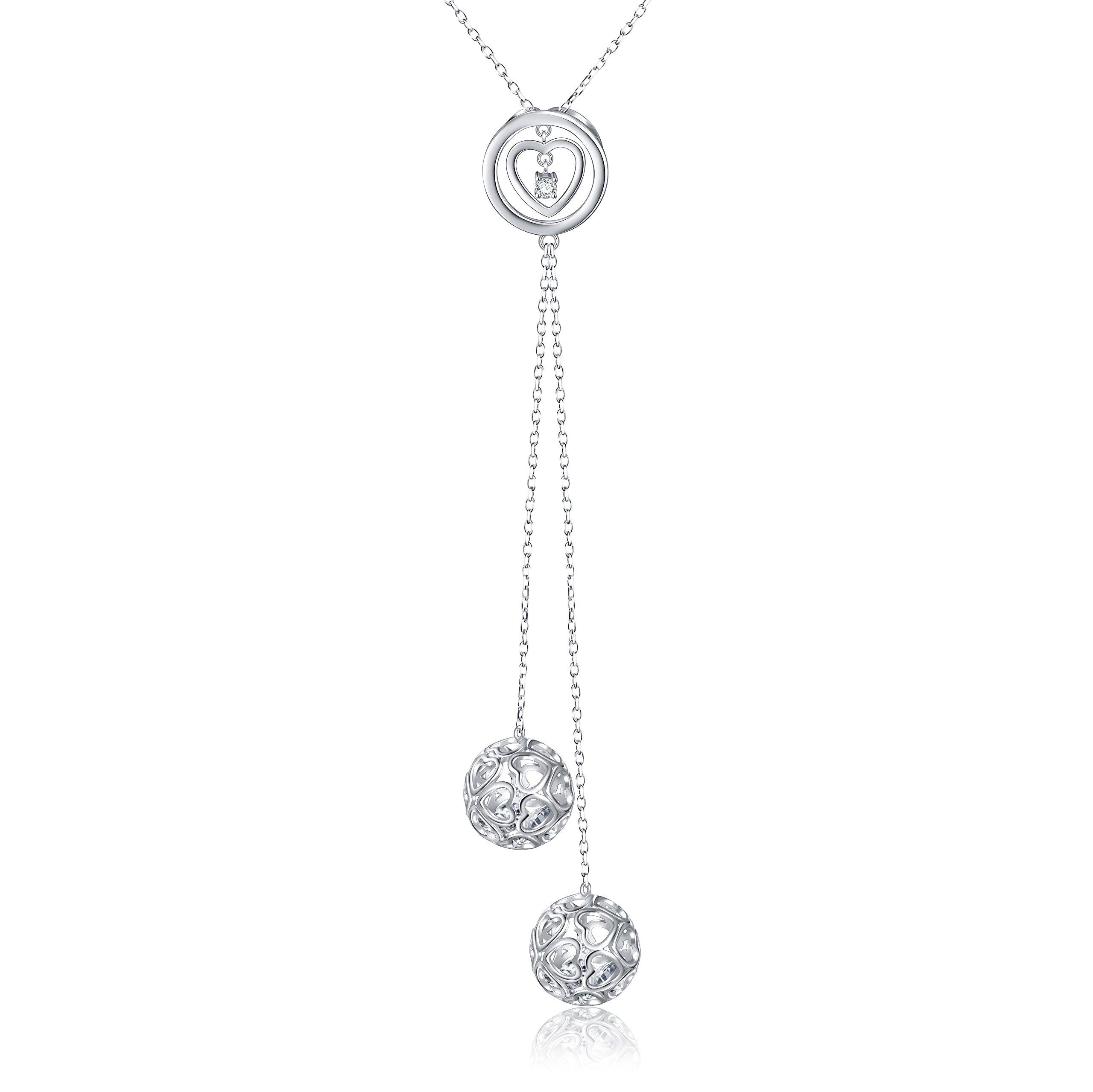 SILVER MOUNTAIN S925 Sterling Silver Long Chain Heart Necklace Dangle Tassel Pendant for Women 30'' Chain