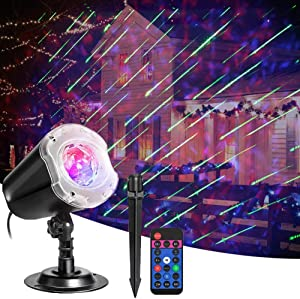 EEUK LED Projector Lights Meteor Shower Lawn Lamp for Christmas Halloween, with Remote Control Outdoor Indoor Landscape Decorative Projector Lamp, for Home Xmas Garden New Year