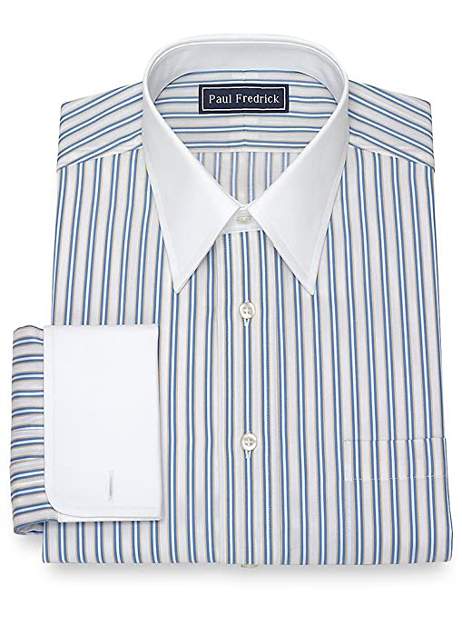 1920s Style Mens Shirts | Peaky Blinders Shirts and Collars Paul Fredrick Mens Cotton Stripe Dress Shirt  AT vintagedancer.com