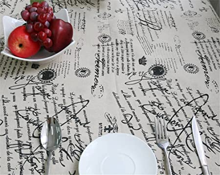 Letras de Joybuy impresas de estilo vintage de algodón y lino a prueba de polvo con encaje mantel decoración del hogar, disponible en varios tamaños: Amazon.es: Hogar