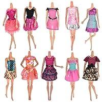 Upper 10pcs Vestidos para Muñeca Barbie Vestidos Fiesta Color al Azar Vestido Fashion Falda Mini Fiesta Ropas