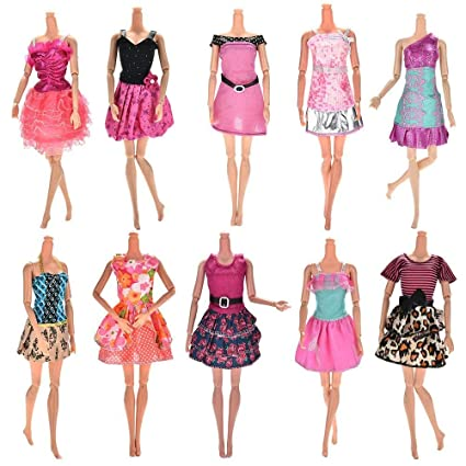 Upper 10pcs Vestidos para Muñeca Barbie Vestidos Fiesta Color al Azar Vestido Fashion Falda Mini Fiesta